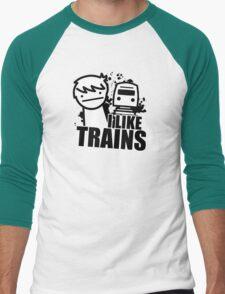 ASDF T-Shirt I Like Trains  Men's Baseball ¾ T-Shirt