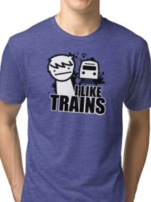 ASDF T-Shirt I Like Trains  Tri-blend T-Shirt