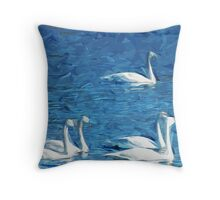 Flock of Trumpeter Swans Abstract Impressionism Throw Pillow