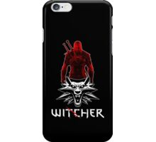 Geralt and Wolf medallion The Witcher (white text) iPhone Case/Skin