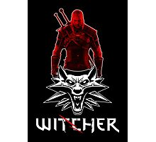 Geralt and Wolf medallion The Witcher (white text) Photographic Print