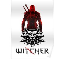 Geralt and Wolf medallion The Witcher (black text) Poster