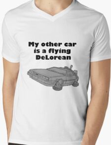 My other car is a flying DeLorean (plain) Mens V-Neck T-Shirt