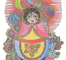 Russian Nesting Doll Illustration by PixieDoodleDoo