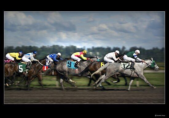Horses Racing Under Stormy Skies by Greenbaby