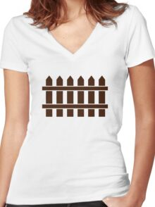 Wooden fence Women's Fitted V-Neck T-Shirt