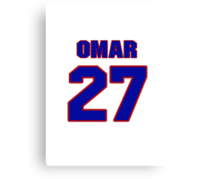 National baseball player Omar Olivares jersey 27 Canvas Print