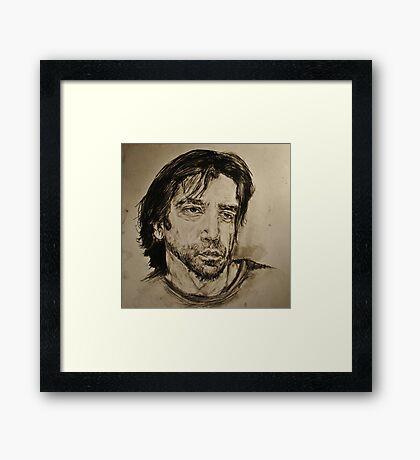 Javier Bardem Portrait  Framed Print