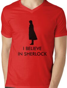 I Believe in Sherlock - Red Mens V-Neck T-Shirt