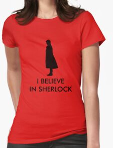 I Believe in Sherlock - Red Womens Fitted T-Shirt