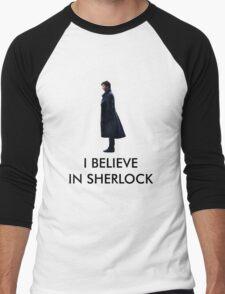 I Believe in Sherlock - White Men's Baseball ¾ T-Shirt