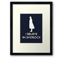 I Believe in Sherlock - Navy Framed Print