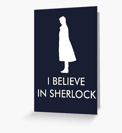I Believe in Sherlock - Navy Greeting Card