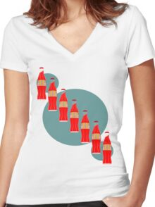 Red Pop Women's Fitted V-Neck T-Shirt
