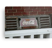 Old fashion bench advertising  Metal Print