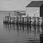 Hall's Harbour Wharf (B&W) by Scott Ruhs