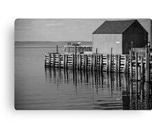 Hall's Harbour Wharf (B&W) Canvas Print