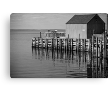 Hall's Harbour Wharf (B&W) Canvas Print