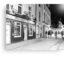 Outside A Pub At Night In Galway Ireland Canvas Print