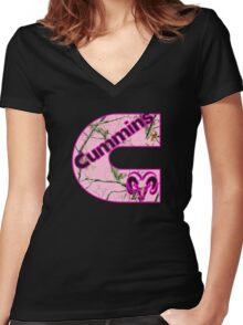 Cummins Dodge Pink Camouflage Women's Fitted V-Neck T-Shirt