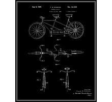 Tandem Bicycle Patent - Black Photographic Print