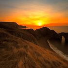 Durdle Door - Watery Sunrise Along The Jurassic Coast by delros
