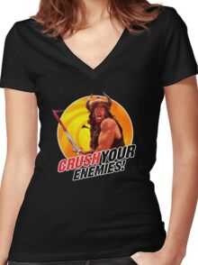 Crush Your Enemies! Women's Fitted V-Neck T-Shirt