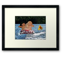 WEEE > SPLISH SPLASH CABBAGE PATCH KIDS (DOLLS) AND DUCK HAVING FUN IN THE WATER Framed Print
