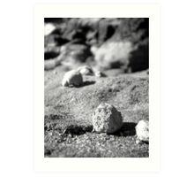 Rocks at Currimundi Beach Black and White Art Print