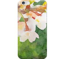 White Cherry Blossoms Digital Watercolor Painting 2 iPhone Case/Skin