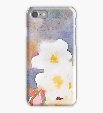 White Cherry Blossoms Digital Watercolor Painting 3 iPhone Case/Skin