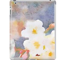 White Cherry Blossoms Digital Watercolor Painting 3 iPad Case/Skin
