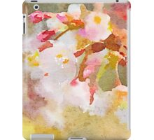 White Cherry Blossoms Digital Watercolor Painting 4 iPad Case/Skin