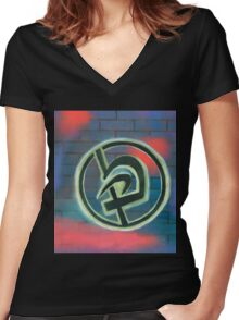 Krav Maga Graffiti Women's Fitted V-Neck T-Shirt