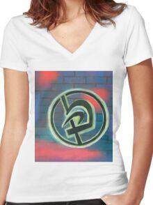 Krav Maga Graffiti Women's Fitted V-Neck T-Shirt