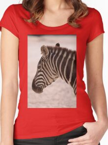 zebra at the zoo Women's Fitted Scoop T-Shirt
