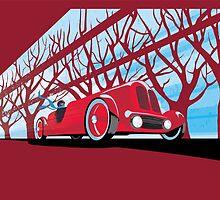 Ford Edsel vintage racer illustration by SFDesignstudio