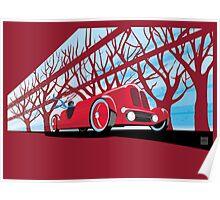 Ford Edsel vintage racer illustration Poster