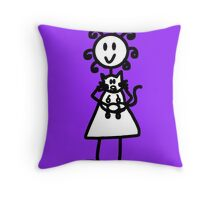 The Girl with the Curly Hair Holding Cat - Purple Throw Pillow