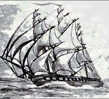 Pencil Drawing of a Clipper Ship based on the Cutty Sark - all products except duvet by Dennis Melling