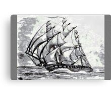 Pencil Drawing (enhanced) of a Clipper Ship based on the Cutty Sark Canvas Print