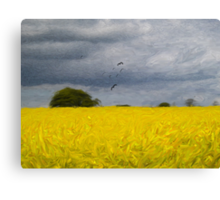 Rapeseed Fields - Impressionist - Oil Painting Effect Canvas Print