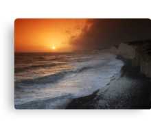 LIGHT FROM THE STORM - SEASCAPE SUNSET AT BIRLING GAP Canvas Print