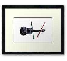 Ukulele and drumsticks Framed Print