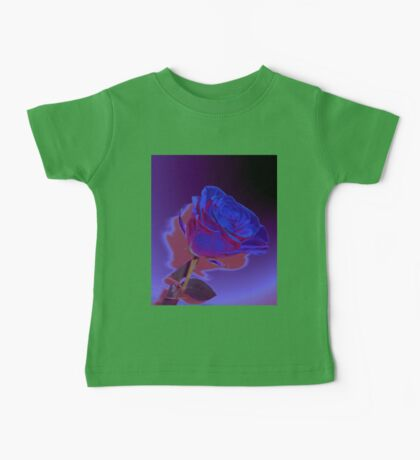 Dynamic Blue and Purple Abstract Rose Design Baby Tee
