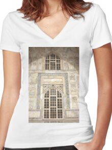 Taj Mahal Facade - Agra - India Women's Fitted V-Neck T-Shirt