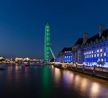 The London Eye and the South Bank at Night by Carolyn Eaton