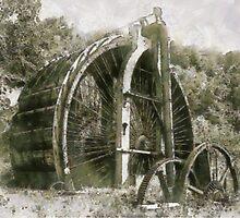 Industrial Revolution - Burden Iron Works Water Wheel, Hudson River, Troy, New York, USA by Dennis Melling