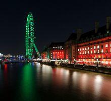 The South Bank, London at Night by Carolyn Eaton