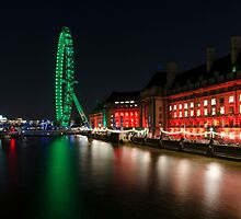 The South Bank, London at Night by Carolyn Eaton